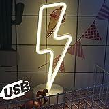 AIZESI Lightning Lamp Leuchtreklamen Indoor Figurine Lampen mit Halter Basis Kindergarten Lampen & Shades Kindergarten Nachtlichter Menschen Dekorative Zeichen(White Lightning - USB)