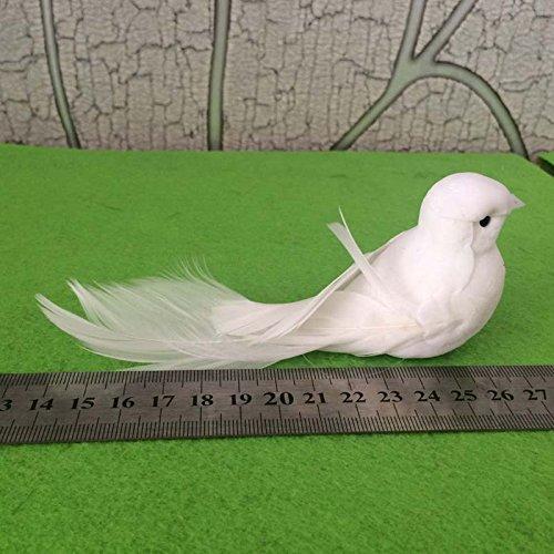Yalulu 2 Stück 12*5*5CM Weiß Hochzeit Taubenpaar Künstlich Schaum Vögel Zuhause Ornaments Deko - 4