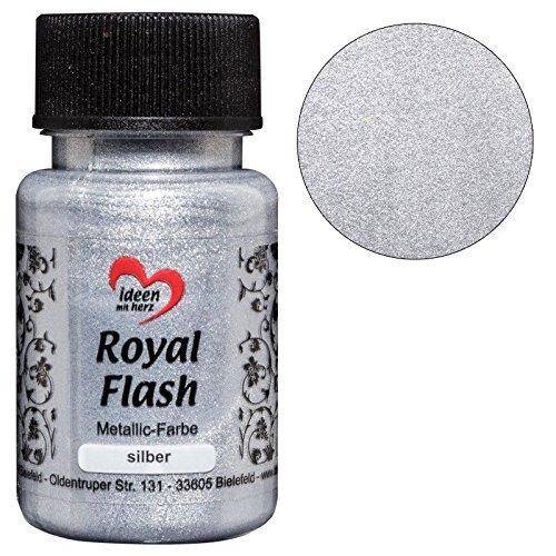 Royal Flash, Acryl-Farbe, metallic, mit feinsten Glitzerpartikeln, 50 ml (silber)