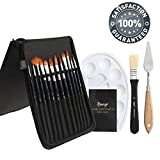 #2: Bianyo 12 Piece Artist Brush Set (Includes Palette, Knife, Large Brush) in Zippered Carry Case