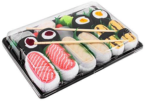 Sushi socks box - 5 paia di calzini sushi: tamago butterfish salmone, tonno e oshinko maki, idea regalo divertente, calze fantasia di cotone|dimensioni: eu 36-40, certificato oeko-tex