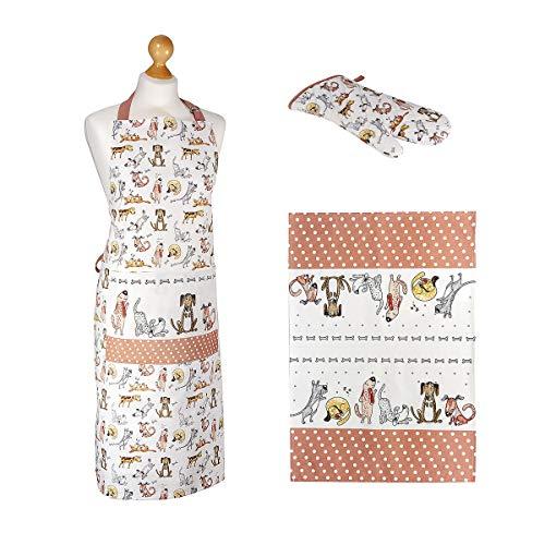 SPOTTED DOG GIFT COMPANY 3er Geschenkset, Geschirrtüch, Topflappen Handschuh und Kochschürze Damen, lustiges Hunde Design, Geschenk für Frauen Hundeliebhaber (Topflappen, Geschirrtücher)
