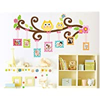 Con gufi su un albero portafoto da parete per la camera dei bambini, decorazione per soggiorno