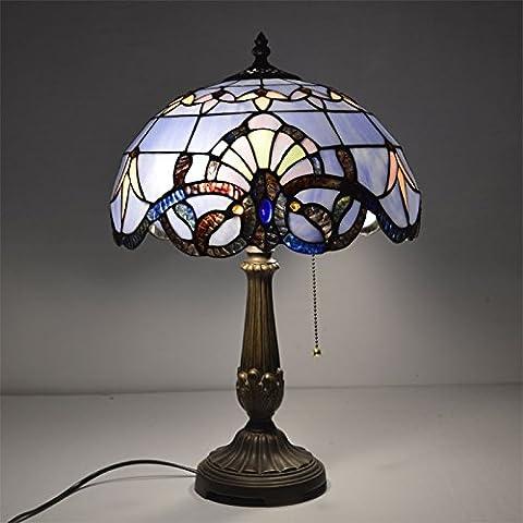 BRILIFE 12 Zoll Tischleuchte Glasmalerei europäischen Barock Klassik für Wohnzimmer E27 110-240V, Weiß