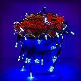 Amzdeal Luces solares Luces de cadena al aire libre para la decoración de Iluminación en Jardín 50 LED Color Azul