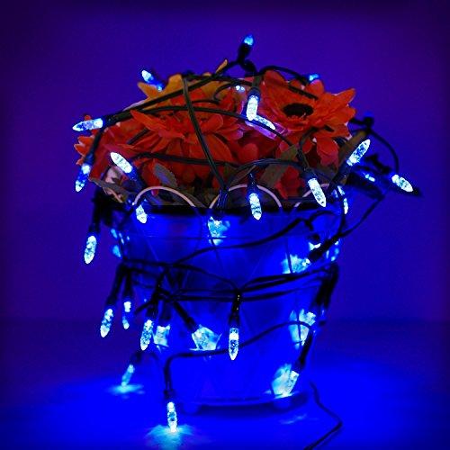 Amzdeal Guirlande Lumineuse Solaire avec 50 LEDs, Chaîne de lumières solaire pour Noël, Cérémonie de Mariage, Soirée Décoration Intérieure et Extérieure ( Bleu)