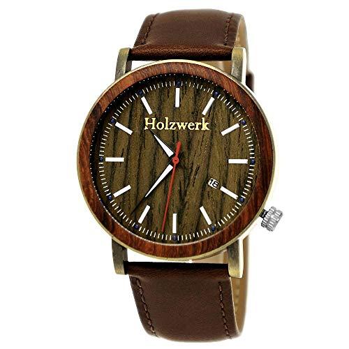 Handgefertigte Holzwerk Germany Designer Herren-Uhr Öko Natur Holz-Uhr Leder Armband-Uhr Analog Klassisch Quarz-Uhr Braun Gold Datumsanzeige Holz Ziffernblatt