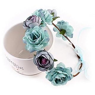 Kicode Flower Garland Wreath Mode Stoff Rose Headband Hairband Party Wedding Floral Crown Headwear Women Girls Baby Hair Accessories