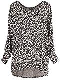 Emma & Giovanni - Pullover - T-Shirt Loose Fit Mit Druck- Damen (M/L, Beige Leopard)