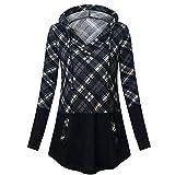 YWLINK Damen Lange ÄRmel Plaid Kordelzug V Ausschnitt Pullover Mit Kapuze Lose Lange Hoodie Sweatshirt Blusenoberteile(XL,Grau)