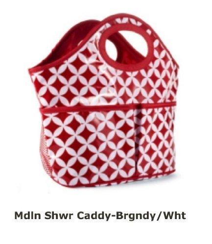 Shower Caddy Burgandy and White Mudpie by Mud Pie -
