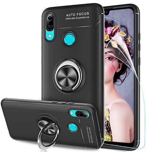 LeYi Hülle Huawei P Smart 2019 Handyhülle mit HD Folie Schutzfolie,Cover Bumper 360 Grad Ring Stand Magnetische Schutzhülle für Case Huawei P Smart 2019 Handy Hüllen JSZH Schwarz