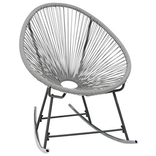 vidaXL Chaise à Bascule de Jardin Résine Tressée Gris Patio Salon de Jardin