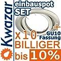 10er Set K-19 Einbaustrahler Inkl Gu10 230v Fassung - Nickel Matt Innox von Kwazar