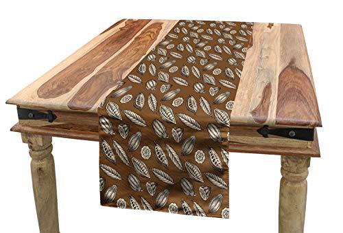 ABAKUHAUS Erdfarben Tischläufer, Kakaobohnen Blätter, Esszimmer Küche Rechteckiger Dekorativer Tischläufer, 40 x 300 cm, Dunkelbraun Braun Elfenbein
