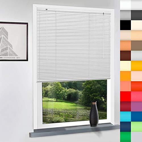 SUNWORLD Aluminium Jalousie nach Maß, hochqualitative Wertarbeit, 28 Farben verfügbar, Maßanfertigung, für Fenster und Türen, Alu Jalousien, Decken und Wandmontage (Weiß, Höhe: 220cm x Breite: 75cm)