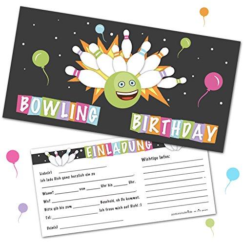 12 Einladungskarten Bowling Kindergeburtstag Kegeln Einladungen mit Umschlägen Jungen Geburtstagseinladungen Party