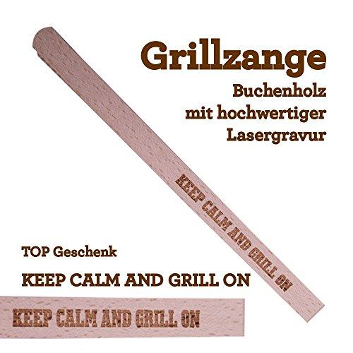 Grillzange Aus Holz Mit Hochwertiger Gravur Keep Calm And Grill On