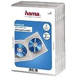 Hama DVD-Doppelhülle (auch passend für CDs und Blu-rays, mit Folie zum Einstecken des Covers) 5er-Pack, transparent