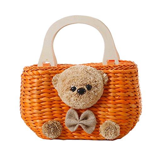FAIRYSAN Lady Mini Bär Cartoon Muster Orange Hand gewebte Stroh Tasche Tote Bag -