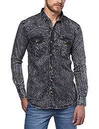 Urbano Fashion Men's Denim Solid Charcoal Grey Casual Shirt