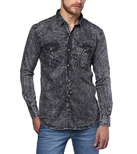 Urbano Fashion Men's Denim Solid Charcoal Grey Casual Shirt