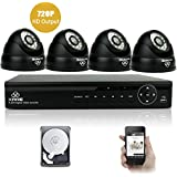 [UPGRADED 960P HD] KARE 4CH Waterproof CCTV Camera System with 4x Super HD Indoor Outdoor Fixed Dome Cameras with 1TB Hard Drive (1280x960 Mega-Pixels