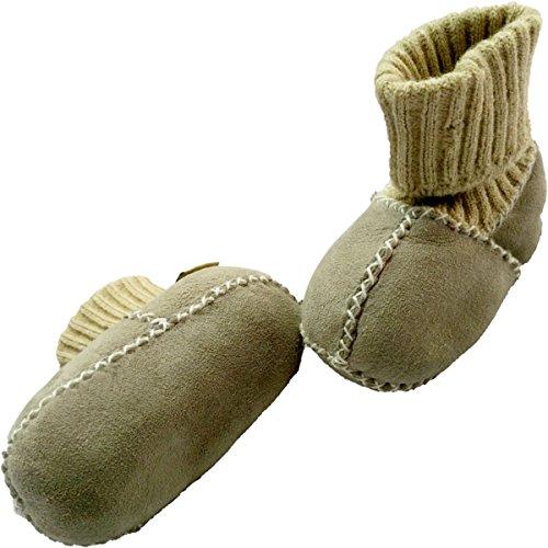 Baby Lammfellschuhe / Krabbelschuhe (ECHTES LAMMFELL) Babyschuhe mit Strickbündchen ca. 6-12m (18, HELLGRAU)