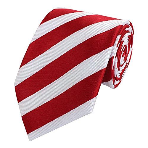 Fabio Farini Edle Krawatte, 8 cm in verschiedenen Farben, Rot-Weiß gestreift