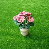 1/12 Puppenhaus Rosa blume Topfpflanze Pflanze Schlafzimmerr Zubehör