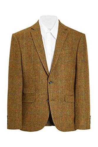 next Herren Signature Sakko aus Harris-Wolltweed Tailored Fit EU 91.5 Regular (UK 36R) Senf (Tailored Seide Sakko,)