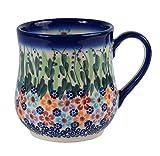 Traditionelle Polnische Keramik, handgefertigte Keramik Tassen, EIN Becher in Tropfenform mit Muster im Bunzlauer Stil (350ml) Q.102.Daisy