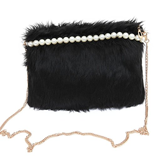 Amlaiworld Donna moda borsetta peluche perla (Nero)