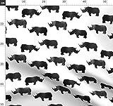 Tier, Nashorn, Afrika, Schwarz Und Weiß, Schwarz Weiß