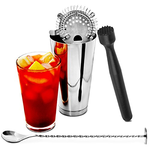 Starter Set Boston Shaker per cocktail da bar @ drinkstuff | contiene professionale boston shaker per cocktail in latta e vetro, cucchiaio per mescolare, pestello per cocktail e strainer Hawthorne – Ideale per Cocktail principianti by drinkstuff