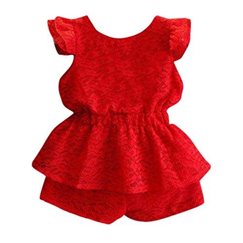61bd5897c9a1af Hirolan. 8,71 €. Babybekleidung,Kinder Baby Mädchen Outfits Sommer Ärmellos  Bekleidungssets Denim Phantasie Blumen Tutu Kleider Spitze Wellenkante ...