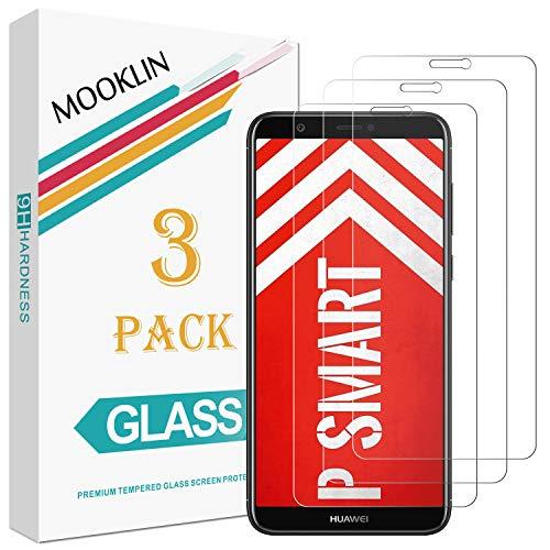MOOKLIN Huawei P Smart Panzerglas Bildschirmschutzfolie,[3 Stück] [Easy Install Kit] [Anti-Kratzen] Vollständige Abdeckung Handy Schutzfolie für Huawei P Smart