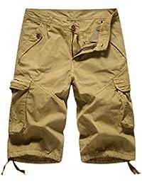 ZKOOO Pantaloncini Corti Bermuda per Uomo Estate Pantalone Corti da Cargo  Multi Tasche Cotone Outdoor Lavoro 47e1af97969
