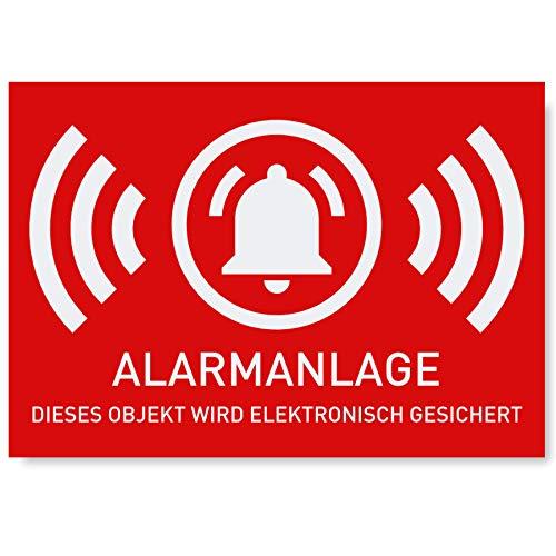 6 x Aufkleber Alarmgesichert | Schutz vor Einbruch | Alarm Sticker für mehr Sicherheit | Alarmanlage Aufkleber für außen | 5 x 3,5 cm geschlitzt