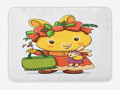 MSGDF Rabbit Bath Mat, Happy Rabbit Carrying Toy Bunny Dressed as a Girl Handbag with Holly Flower Headband, Plush Bathroom Decor Mat with Non Slip Backing, 23.6 W X 15.7 W Inches, Multicolor -