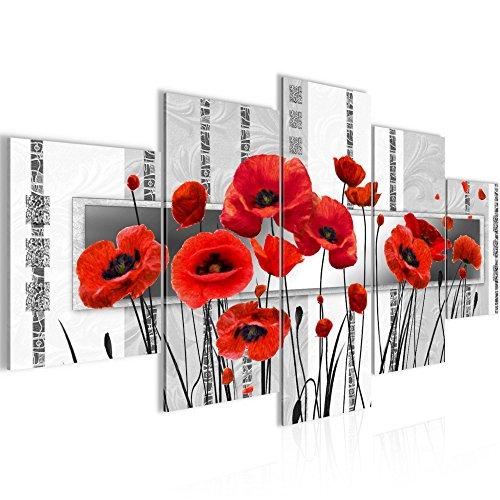 Photo Coquelicots de fleurs Décoration Murale 200 x 100 cm Toison - Toile Taille XXL Salon Appartement Décoration Photos d'art Rouge 5 Parties - 100% MADE IN GERMANY - prêt à accrocher 205851b