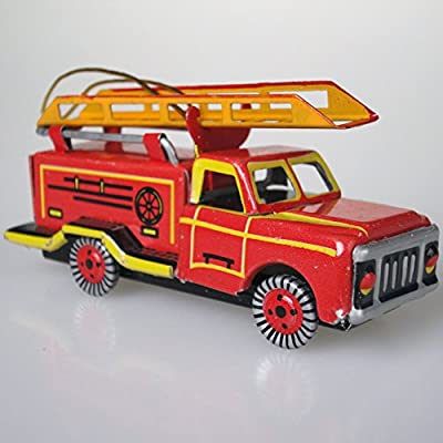 O03 Fire Engine Truck Tin Toy Ornament Christmas Tree