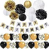 42 Stück schwarz Gold Ruhestand Party Dekorationen Set glücklich Ruhestand Banner 12 Zoll Latex Luftballons Tissue Pom Poms Blumen Papier Laternen im Ruhestand Dekorationen Party Supplies