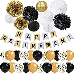 Idea Regalo - 42 PCS Black Gold Retirement Party Decorations Set Happy Retirement Banner 12 Pollici Lattice Palloncini Tessuto Pom Poms Fiori Lanterne di Carta Decorazioni in Pensione Articoli per Feste