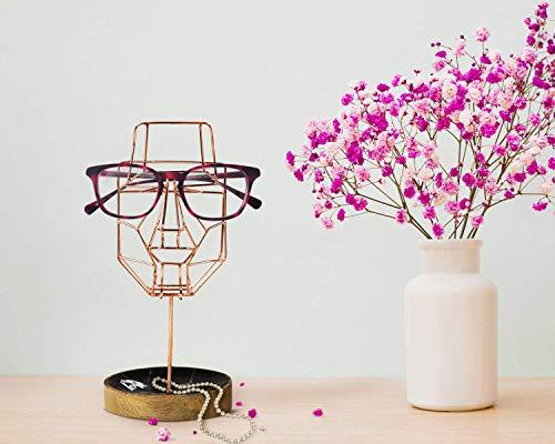 Handgefertigter Brillenhalter Brille skurrile Gesichtsskulptur Drahtmaske Ausstellungsstandhalter mit Ablagefach (Metallkollektion - Kupfer) Spectacle holder zum Verschenken von Storeindya