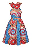 Multi-mo Medium Women African Dress Ethnic Style Floral Print Multiway Wrap Pleated Dress
