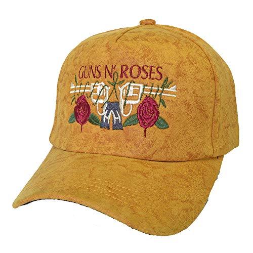 GAOXUQIANG Hard Rock Guns N Rosen Cap Stickerei Rose Baseball Caps Mode Männer Frauen Rock Band Hut Outdoor Hysteresenhüte Knochen Gorras,Yellow,L