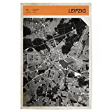 artboxONE Poster 30x20 cm Stadtkarte Leipzig von Künstler Boris Draschoff