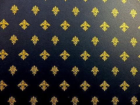 Puppenhaus Miniatur Druck 1:12 Maßstab Viktorianisch Majestic Blau Gold Tapete