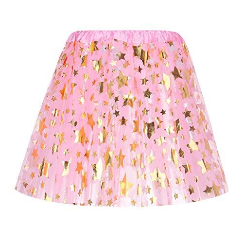 Zimuuy Damen Mode Röcke,Frauen 3 Geschichteten Star Sequin Tutu Tanzen Skirt Ball Rock (Rosa)